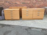 Two piece set of drawers large approx 136cm wide depth 45cm height 70cm med 91cm wide