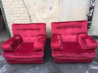 Armchairs x2 red draylon colour