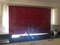 Roman Blind with Gold Pelmet - Red and Gold Material