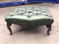 Solid CHESTERFIELD LARGE FOOTSTOOL Bottle Green genuine antique vintage leather