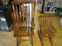 2 Chaises bercante bois, Antiquité / 2Antique wood Rocking chair