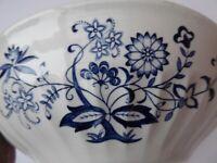 Blue Nordic serving dish or bowl. Vintage Blue and White china. Scandi design pattern.