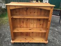 Lovely quality solid pine bookcase on bun feet