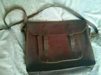 Brown leather satchel - JMR initials