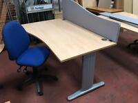 Waved Desk, Chair & Privacy Panel Package
