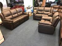Littlewoods brown chocolate leather recliner three piece suite 3 and 2 seater sofa plus armchair