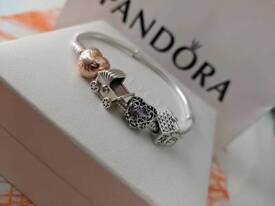 Silver Pandora bracelet with rose gold clasp + 3 charms