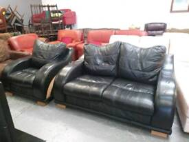 Black leather sofa and chair for 185