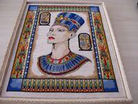 Worked Cross stitch picture of Nefertiti