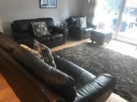 DFS sofa 3 seater, 2 seater and armchair with pouffe