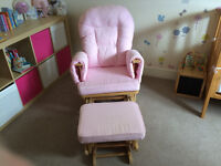 ** Great Condition ** - Pink Supremo Bambino Nursing Glider Chair & Footstool