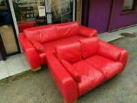 Red Italian leather 3 and 2 seater suite