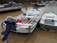 Boat, (13ft dory), engine, tender & trailer.