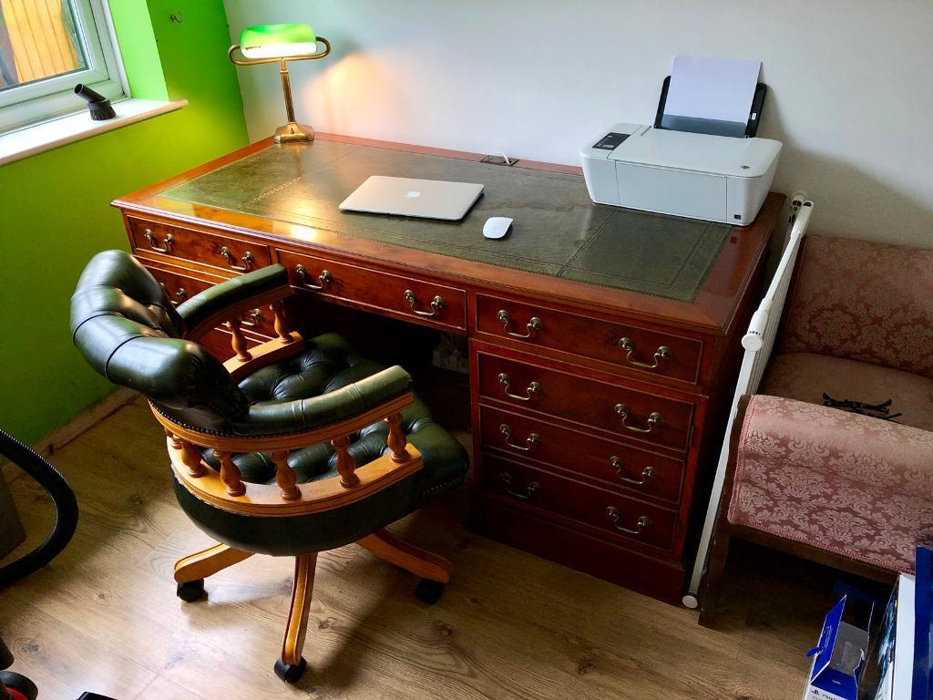 Captains Chair Desk Bankers Lamp Office Retro Green