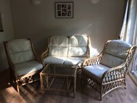 4 Piece Conservatory furniture set: Wicker Sofa, 2 Chairs and glass top coffee table