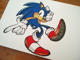 2 x Large Prints on Canvas - Mario and Sonic the Hedgehog