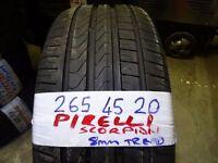 265 45 20 PIRELLI SCORPION 8MM TREAD £50 SUPP & FITD (loads more av} TXT SIZE FOR PRICE & AV 7days