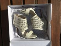 ALDO Cream/Bone Cutout Leather heeled sandals, size UK 5.5, Never Worn