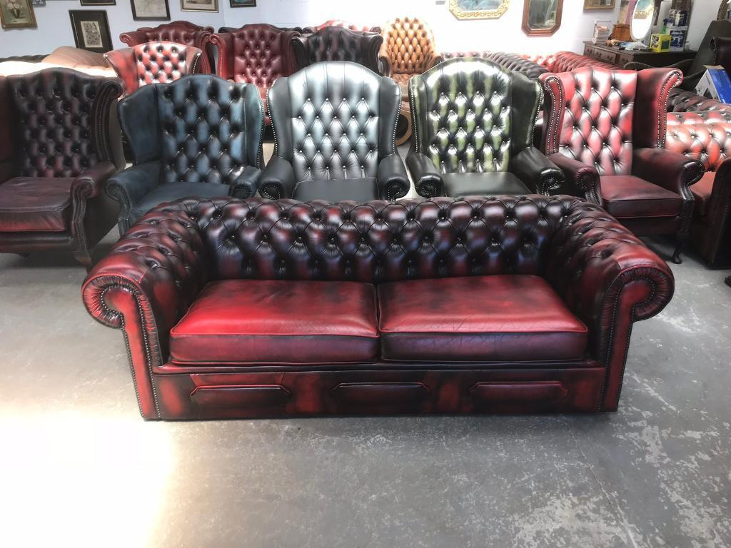 Stunning oxblood leather chesterfield sofa bed UK delivery | in Sunderland,  Tyne and Wear | Gumtree