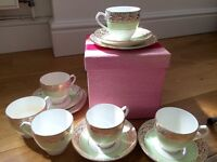 Duck egg mint blue bone china tea set vtg 18-piece Diamond China, English 1930s Listed for charity