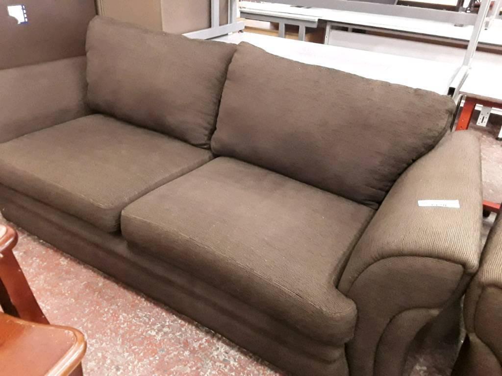 Dark Chocolate Brown Fabric 2 Seater Sofas.