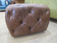 NEW Tan Leather Button Footstool