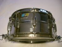 """Ludwig 411 Seamless alloy Supersensitive snare drum 14 x 6 1/2"""" -Blue/Olive,Chicago - '78/'79"""