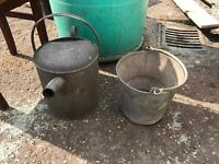 Vintage watering can and bucket