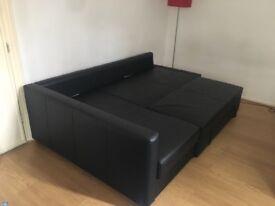 Friheten corner sofa bed (leather) with storage