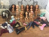 9x Bratz Dolls plus accessories and horse
