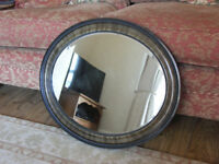 Antique Oval Wood Framed Mirror