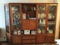Large wall unit with glass cabinets, drawers, cupboard storage and display shelf!