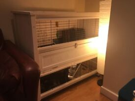 Rabbit Hutch Cage Two Story Wooden