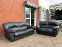 Black leather sofas read description 3&2 delivery 🚚 sofa suite couch furniture