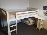 Kids white bunk bed with pull out desk