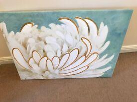 Duck Egg Flower Wall Art - £8