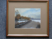 Vintage Landscape Painting by Bristol Artist Mary Shaw Nicely Framed Winter Scene Art Christmas
