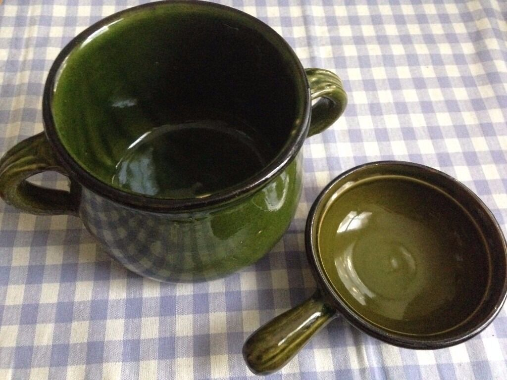 Vintage French Dark Green Cooking/Serving Pot and Crouton Dish For Soup