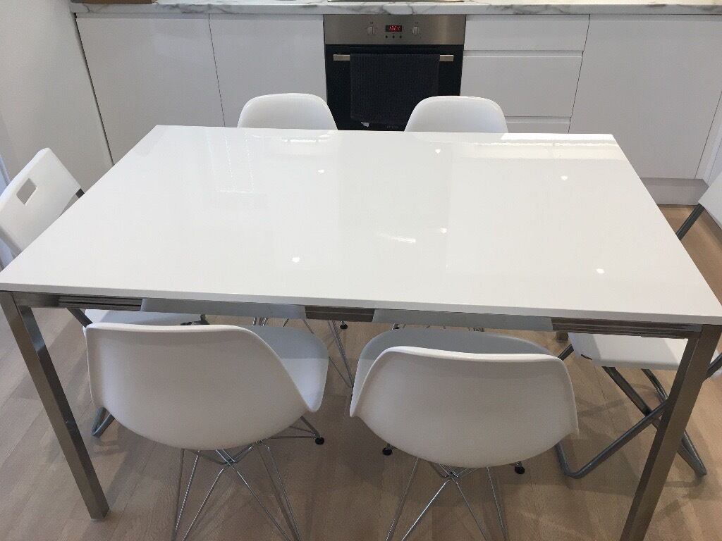 Ikea torsby dining table high gloss white chrome for High table and chairs ikea