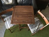 IKEA FOLDING TABLE + 2xCHAIRS WITH CUSHIONS