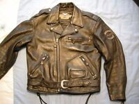 RARE HARLEY DAVIDSON SCREAMIN EAGLE EMBOSSED HERITAGE SOFTAIL LEATHER MOTORCYCLE JACKET