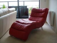 For Sale: Unusual red leather recliner & two lovely white leather sofas (3 seater & 2 seater).