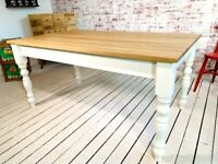 Farmhouse Dining Table - All Sizes - Any Farrow & Ball Colour Extending Oak AB Grade