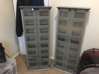 2x CD/DVD Cabinets with frosted glass