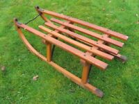 Vintage sturdy wood sledge toboggan