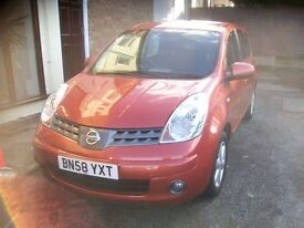 "NISSAN NOTE ACENTA. 67310 Miles. 1386cc. Petrol, Manual, 16""Alloys, Air Con, Elec Windows - Mirrors."
