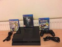 Sony Playstation 4 (PS4) 500GB with 1 pad and 3 games