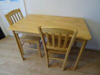 table and two chairs - extra Christmas table and chairs ! removable table legs