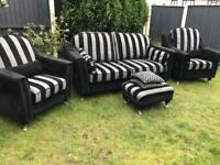Taskers Liverpool furniture luxury 4 piece exquisite black & grey sofa suite. Can deliver