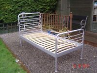 Silver Metal Three Foot Single Bed. Clean Mattress Available if Required. Can Deliver.